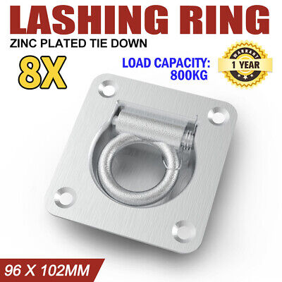 8X Lashing Ring Zinc Plated Tie Down Point Anchor Ute Trailer 96 X 102Mm New
