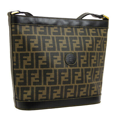 91c6f8965f7 Auth FENDI Zucca Cross Body Shoulder Bag Brown Black PVC Leather Vintage  BT16503