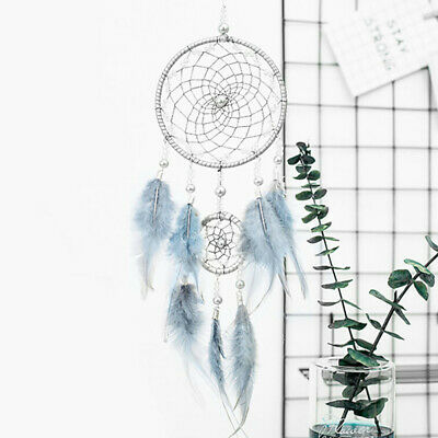 Handmade Dream Catcher Net Feather Decoration Decor Ornament Blue Light Craft