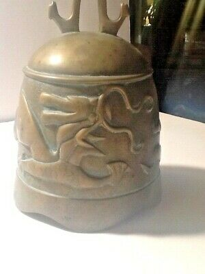 EARLY 20c CHINESE HAMMERED BRASS BUDDIST DRAGON BELL and CARVED STANDw