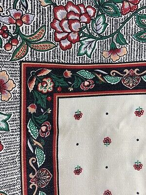 Black and Red Floral Table Cloth, Vintage Fabric- Size 58 inch by 60 inch.
