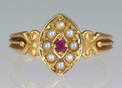 Victorian 15ct Gold Ruby & Pearl Antique Ring Circa 1900 Vintage English Ring