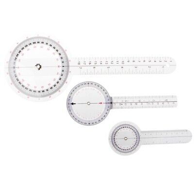 Plastic 360 Degree Goniometer Angle Protractor Ruler Measure Medical 3pcs/set