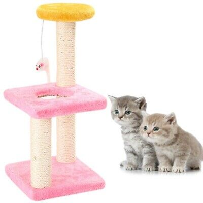 Pet Cat Scratching Post Pole Activity Center Play Toy Sisal Funiture House Condo