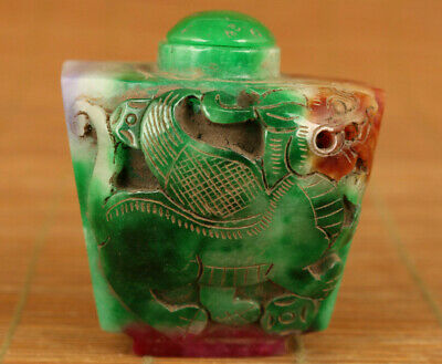 Chinese Natural Hand Green Jadeite Jade Kylin Fortune Statue snuff bottle gift