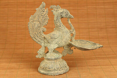 Chinese old bronze casting phoenix oil lamp statue figure collectable