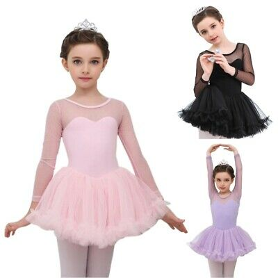 HOT Kids Girls Gymnastics Ballet Dance Dress Leotard Tutu Skirt Party Dancewear