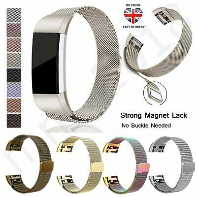 UK Classic For Fitbit Charge 2 Watch Strap Wrist Band Milanese Stainless Steel