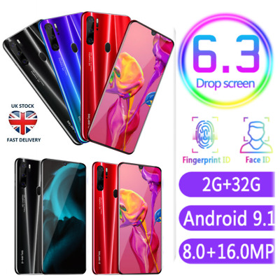 Smartphone P35 6.3'' Android 9.1 Dual SIM 2G 32G Mobile Phone Face Unlock