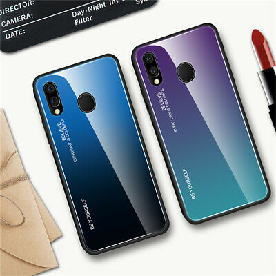 For Samsung Galaxy A20E A40 A50 A60 Gradient Tempered Glass Hard Back Case Cover