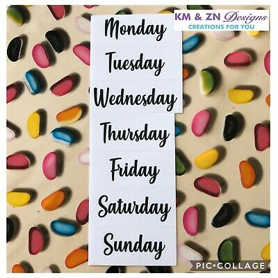 Days Of The Week Clear Stickers - Individual