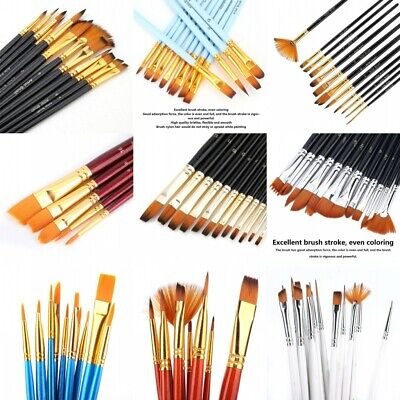 Artist Paint Brushes Set Acrylic Oil Watercolour Painting Craft Art Various Type