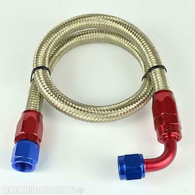 """-6 (AN6 8mm 5/16"""") Stainless Braided Hose Assembley 61cm Oil Line Fuel Line, R/B"""