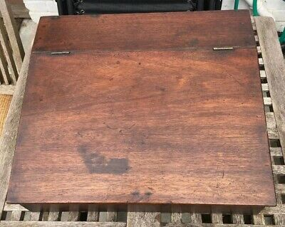 Vintage Campaign Style Mahogany Writing Slope..