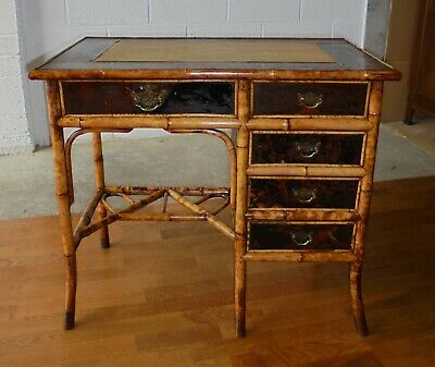 Rare Antique Victorian Oriental Lacquered Bamboo Chinoiserie Desk Dressing Table