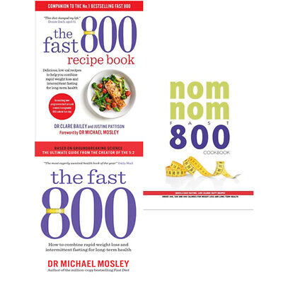 The Fast 800 Recipe Book,Nom Nom Fast 800 Cookbook 3 Books Collection Set NEW