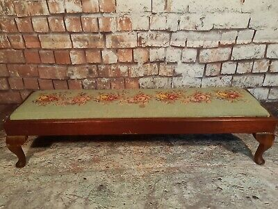 Antique Vintage Edwardian Long Foot Stool Tapestry Fireside Fender Oak Wooden