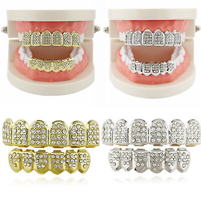Set 14K Gold Teeth Grillz Top Bottom CZ Hip Hop Tooth Cap Grill Bling