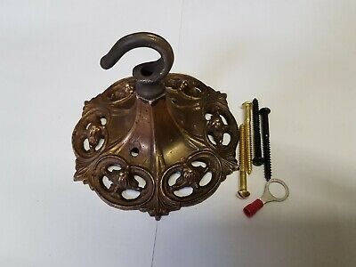 CEILING ROSE 117mm French chandelier hook OLD brass c1930 Rococo NOUVEAU Gothic