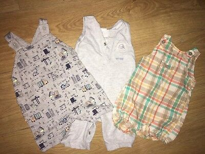Baby Boy Size 0-3 Months Grey Romper Dungarees Outfit Bundle Summer Newborn