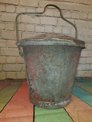 Rare Antique Vintage Galvanised Hanging Fire Bucket With Lid Garden Planter Pot