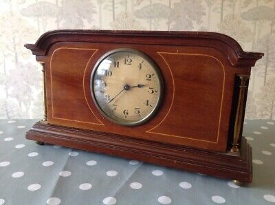 Antique 8 Day Swiss Mantle Clock Mahogany Inlaid Boxwood Brass Pillars Working