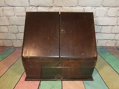Antique Wooden Desk Tidy Writing Stationary Box Letter Rack With Drawer Keys