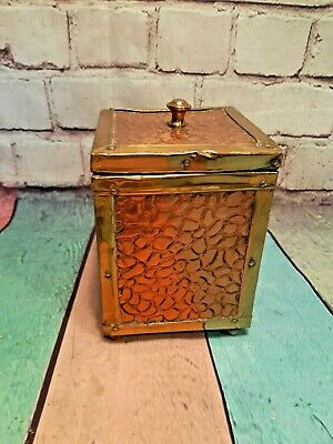 Antique 19th Century Arts & Crafts Copper Brass Tin Lined Wooden Tea Caddy