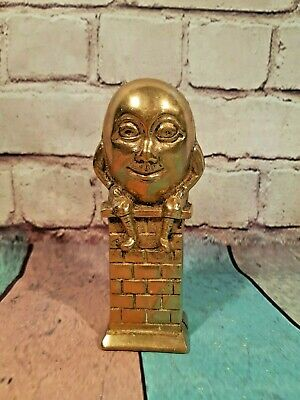 Antique Vintage Solid Brass Novelty Humpty Dumpty Money Saving Pot Box Ornament