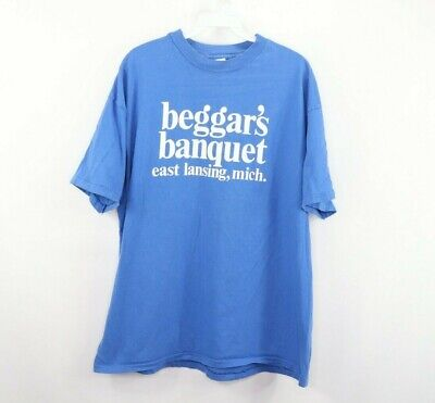 1e42938c9e72a Vintage 90s Mens XL Michigan State Beggars Banquet Bar Spell Out Shirt Blue