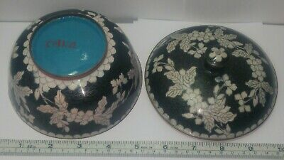 """Antique Chinese Cloisonne Lidded Bowl Black & White Floral Motif. 4"""" Tall 5"""" Dia"""
