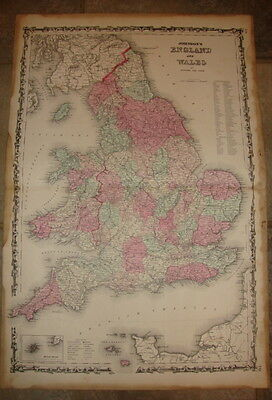 1863 ORIGINAL, ENGLAND, WALES, Hand Colored, large, Johnson antique map