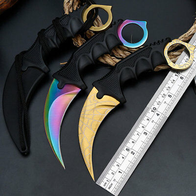 CS-GO Karambit Knife Fixed Blade Sharp Outdoor Hunting Fishing Saber With Sheath
