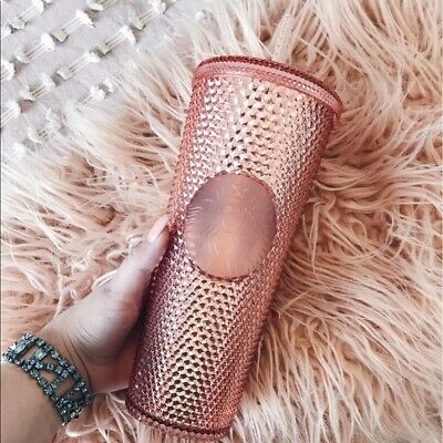 Starbucks Pink Tumbler 2019 Rose Gold Radiant Iridescent Jeweled 24oz Cold Cup
