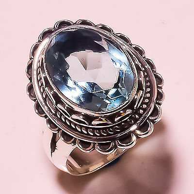 Swiss Blue Topaz 925 Solid Sterling Silver Ring Size 6.50 Us