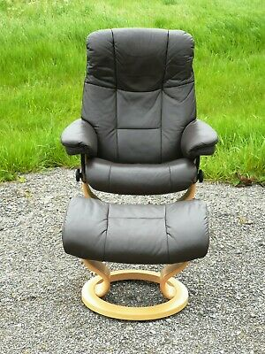 Ekornes Stressless Mayfair Leather Recliner Armchair With Footstool(Uk Delivery)