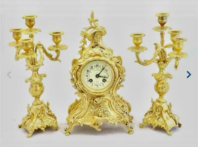 Antique French mantle Clock Stunning Rococo Gilt Bronze 8 Day Garniture Set 1878