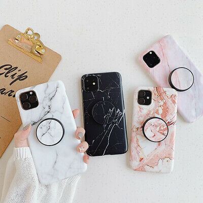 Marble TPU Case With Pop Up Stand Holder for iPhone XS Max XR 6s 7 8 Plus Relief