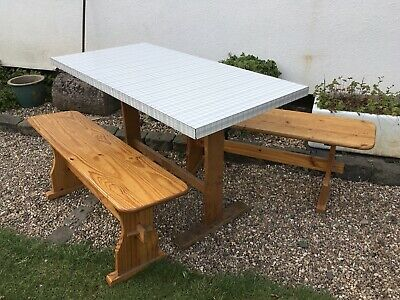 Vintage Retro Checked Formica & Beech Wood Dining Kitchen Table & 2 Benches