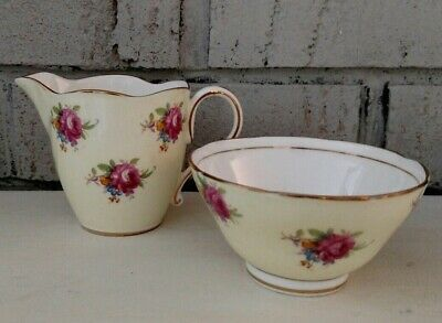 Vintage Paragon Bone China Rose Floral Soft Yellow Creamer Sugar Double Warrant