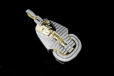 Diamond Egyptian Pharaoh King Tut Mens Pendant 925 Sterling Silver Charm 0.50 Ct