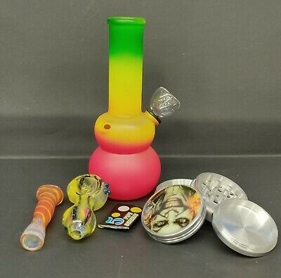 "Hookah Water Pipe Mini Bong Glass 6"" Inch ""Rasta COMBO"""