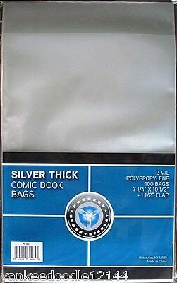 1000 New CSP SILVER AGE THICK Comic Book Archival Poly Bags- 7 1/4 X 10 1/2