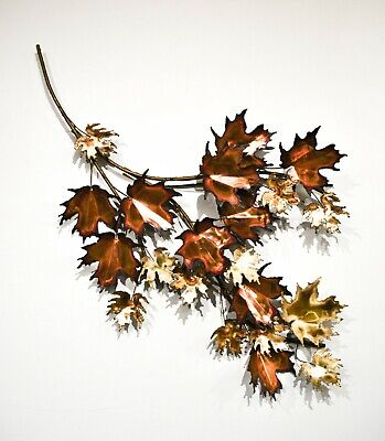 Mid Century Curtis Jere Mixed Metal Maple Leaves Branch Wall Sculpture,Signed