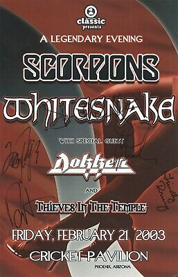 WHITESNAKE authentic autographed concert signed 2003 tour poster DAVID COVERDALE