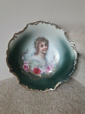 Pretty Antique Victorian Imperial Crown China Hand Painted Portrait Bowl Germany