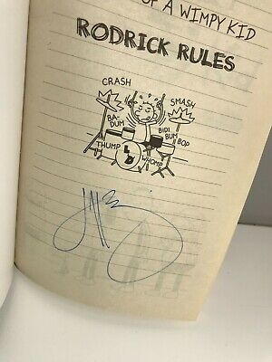 x1 Hand Signed JEFF KINNEY Book - DIARY OF A WIMPY KID - RODRICK RULES