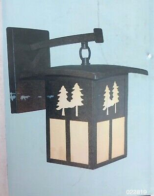 Arts and Crafts Style Mission Porch Light Lamp Pine Tree Motif Bronze New In Box