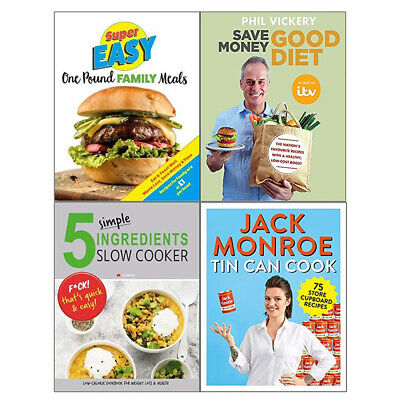 Save Money Good Diet,5 Simple Ingredients Slow Cooker 4 Books Collection Set NEW