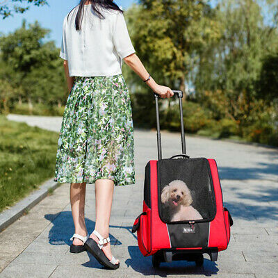 MagiDeal Pet Dog Trolley Carrier Passeggino Travel Backpack Wheel Cage Rosso